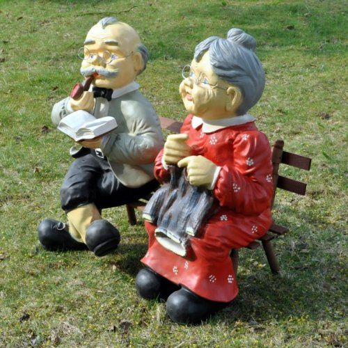 Oma Und Opa Auf Bank Für Den Garten Xxxl Gartendeko Dekoration