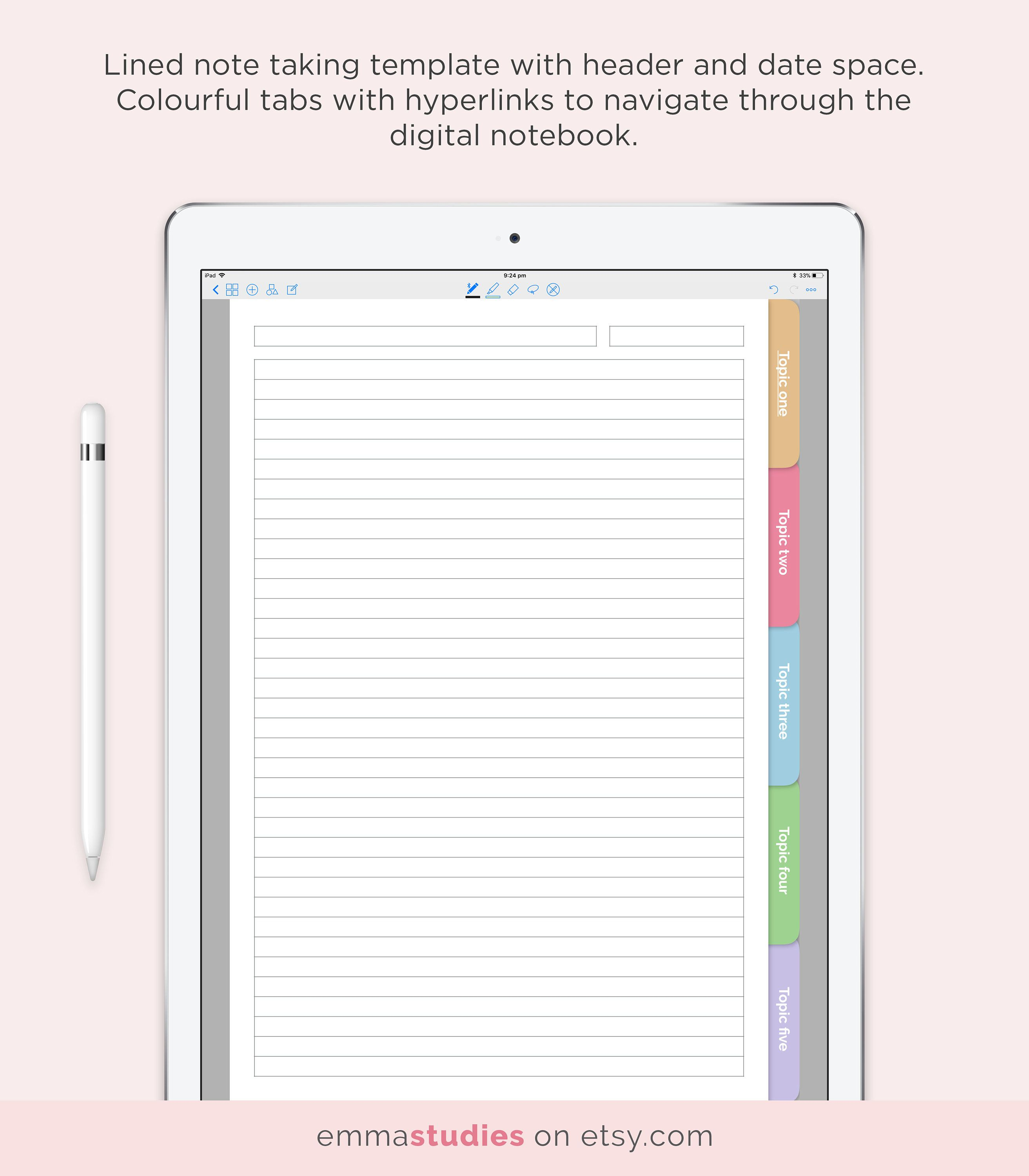 Goodnotes 5 Subject Student Notebook Template Digital Lined Ruled Customisable Notebook Ipad College School Instant Download Notebook Templates Customizable Notebooks Student Notebooks