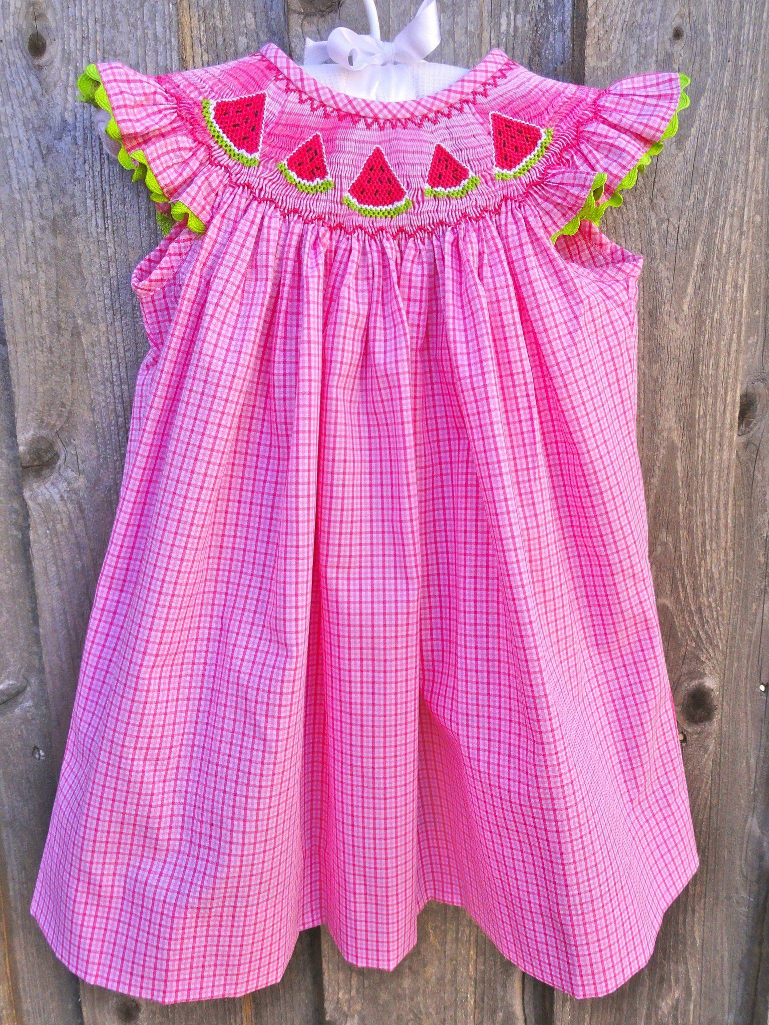 Pink Checked Smocked Watermelon Dress Summer Fun