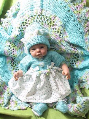 Blue rosebud layette crochet knit fabric 0 by fairywinklesdesigns
