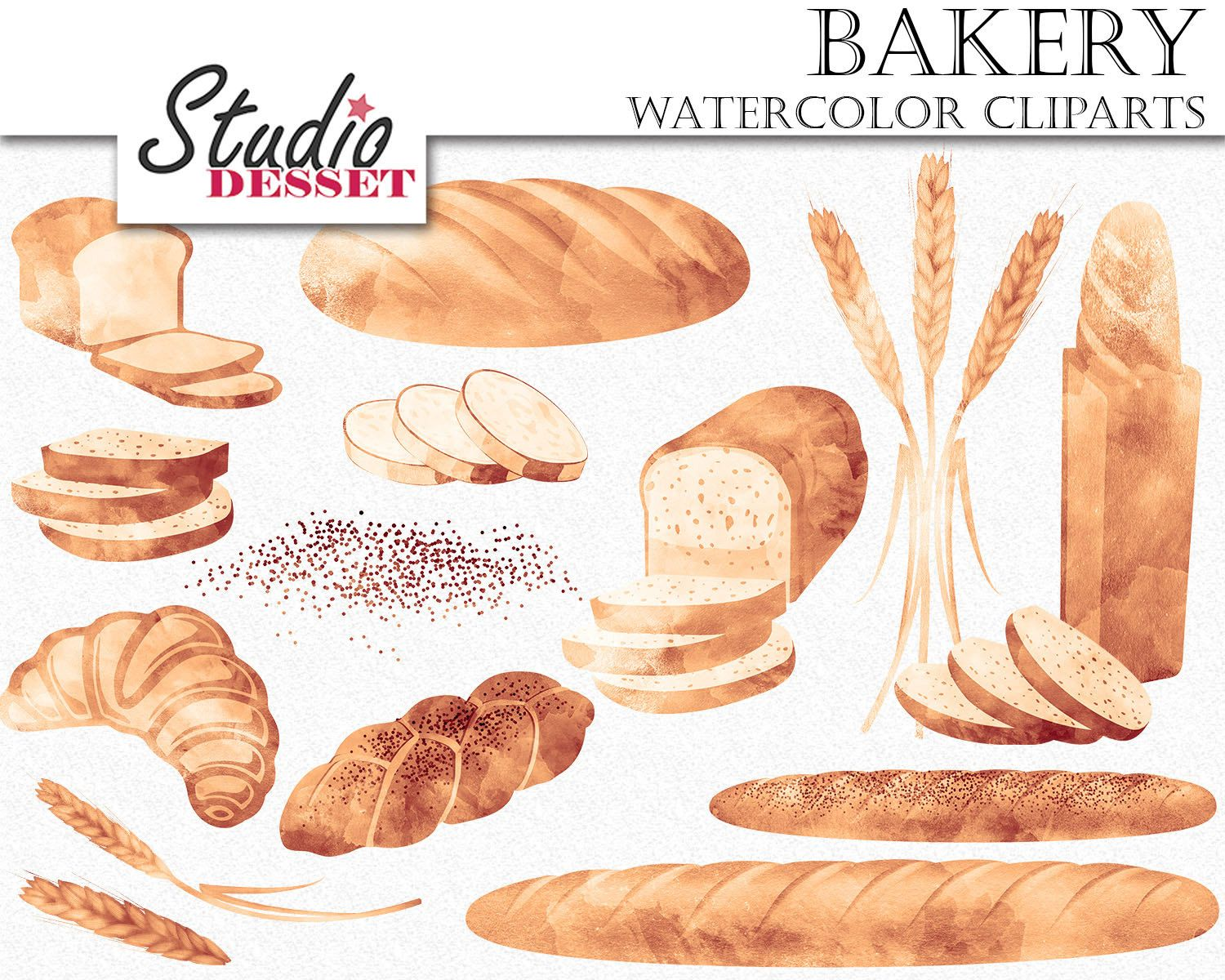 Bread Cliparts Watercolor, Bakery Graphics - Wheat, Croissant ...