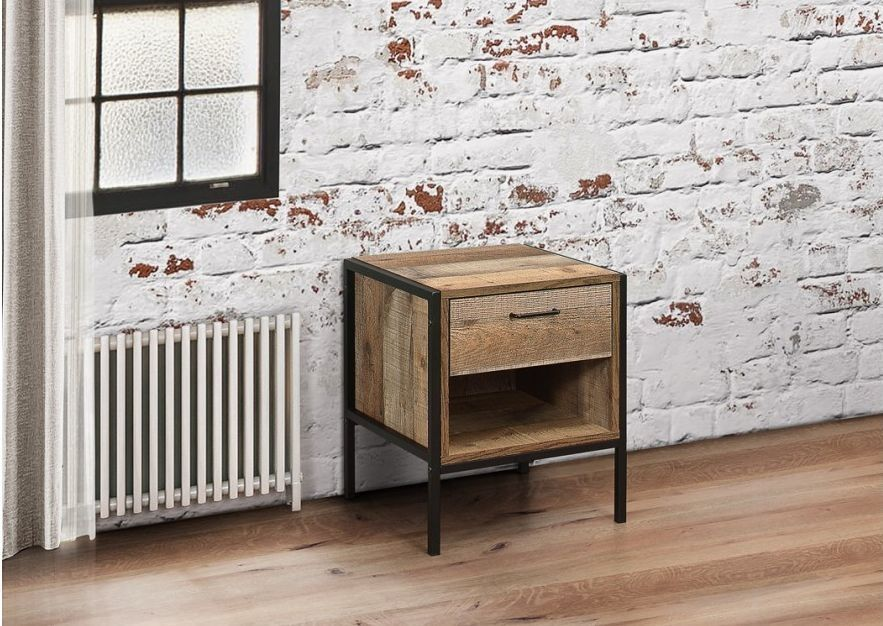 Birlea Urban Rustic Compact Bedside with Metal