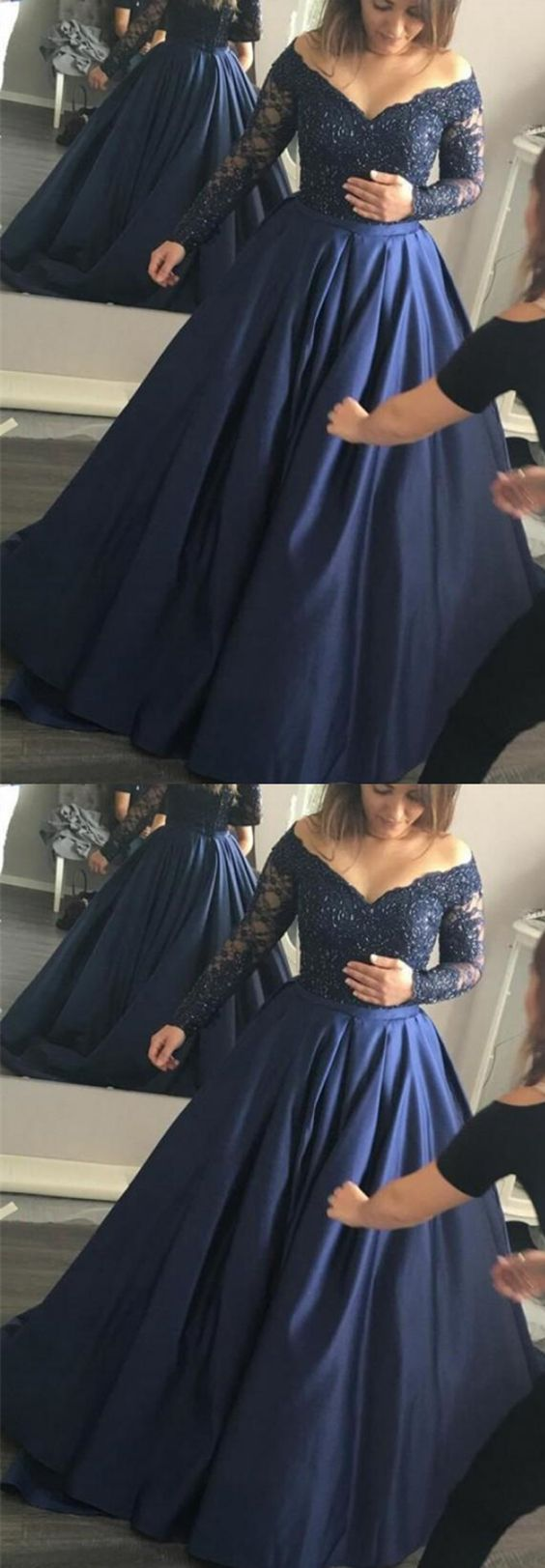 Ball gown offtheshoulder long sleeves beaded navy blue prom dress