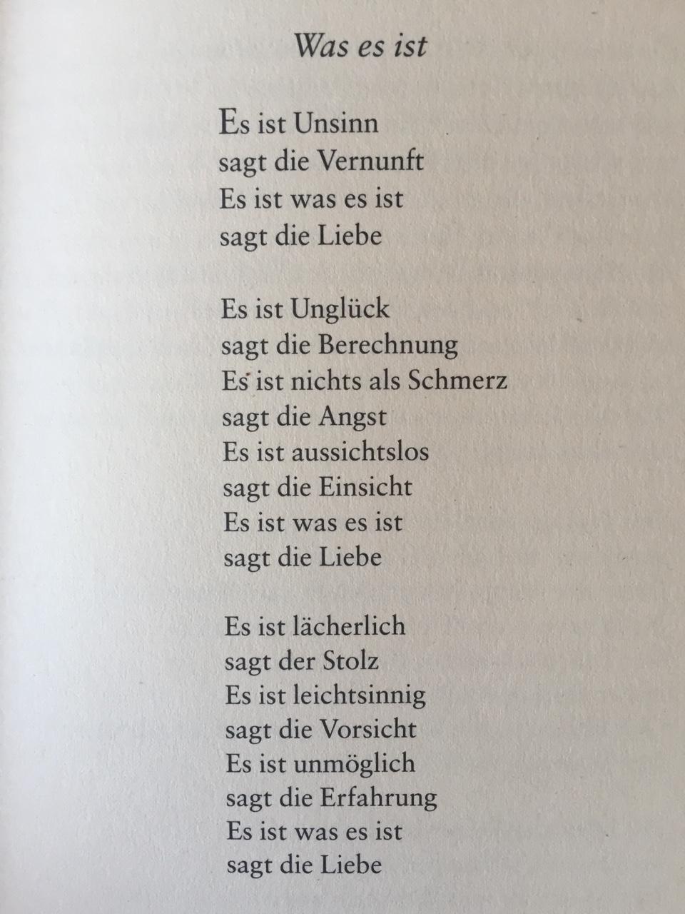 """gedichteausderwelt: """"""""Was es ist"""" von Erich Fried """""""