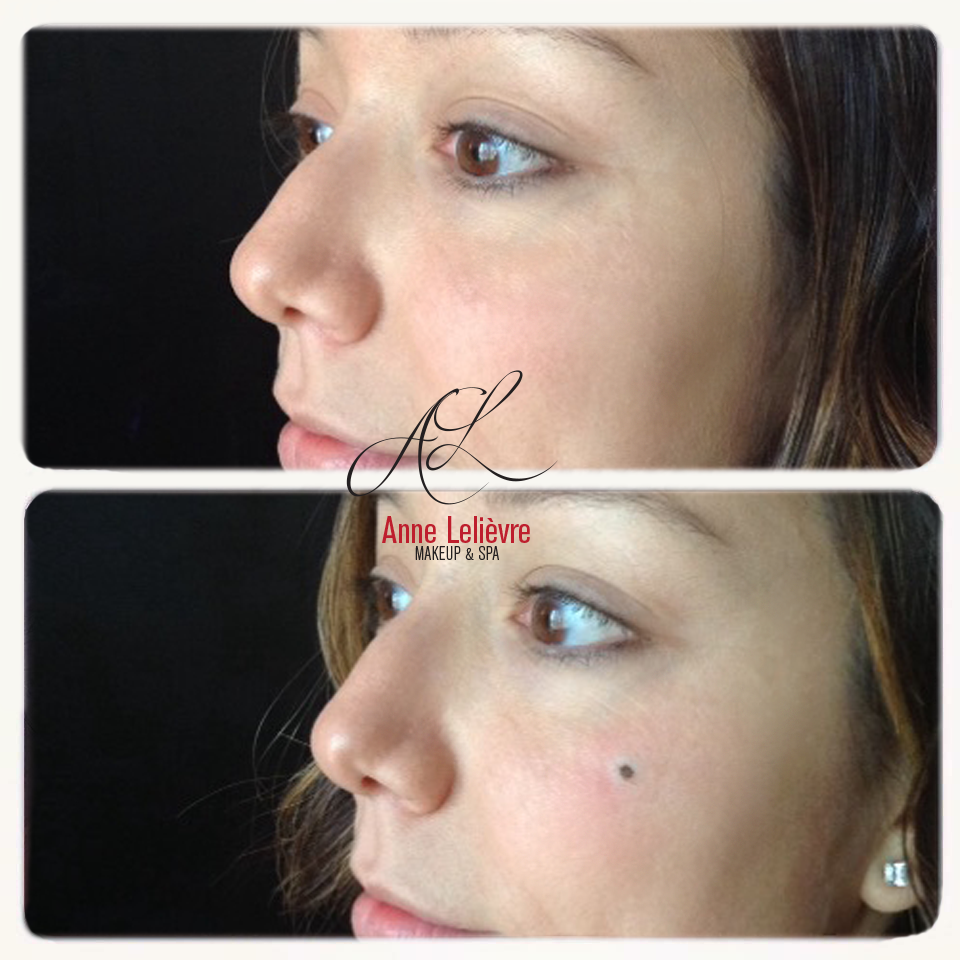Beauty mark with permanent makeup also freshly done in the comfort
