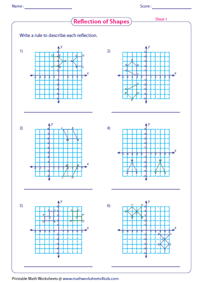Reflection Write The Rules Shapes Worksheets Printable Math Worksheets Worksheets