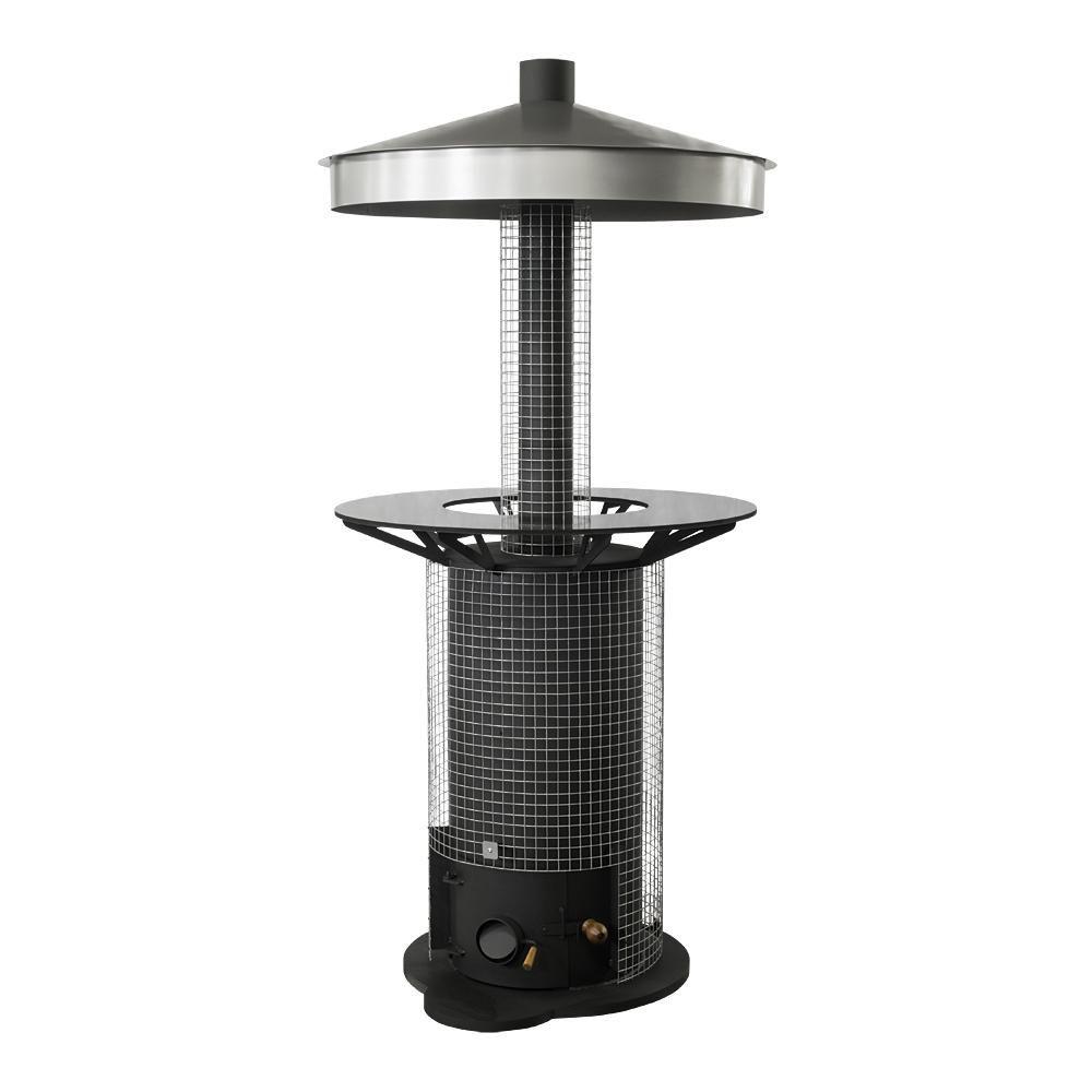 Terrassenstrahler mit Gitterschutz für Kessel und Rauchrohr für ...