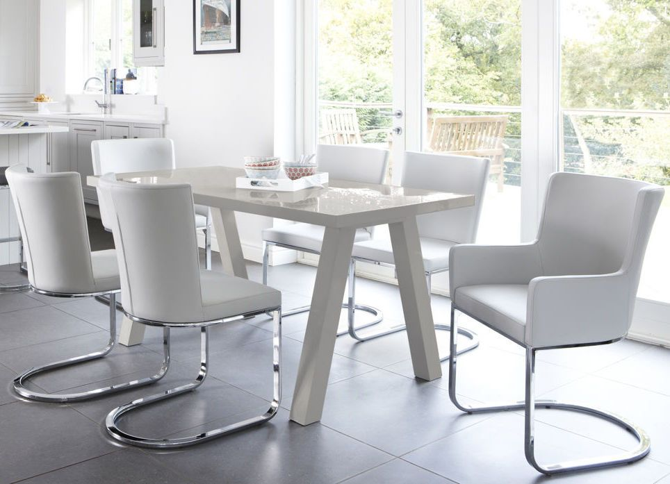 Contemporary 6 Seater Grey Gloss Dining Table