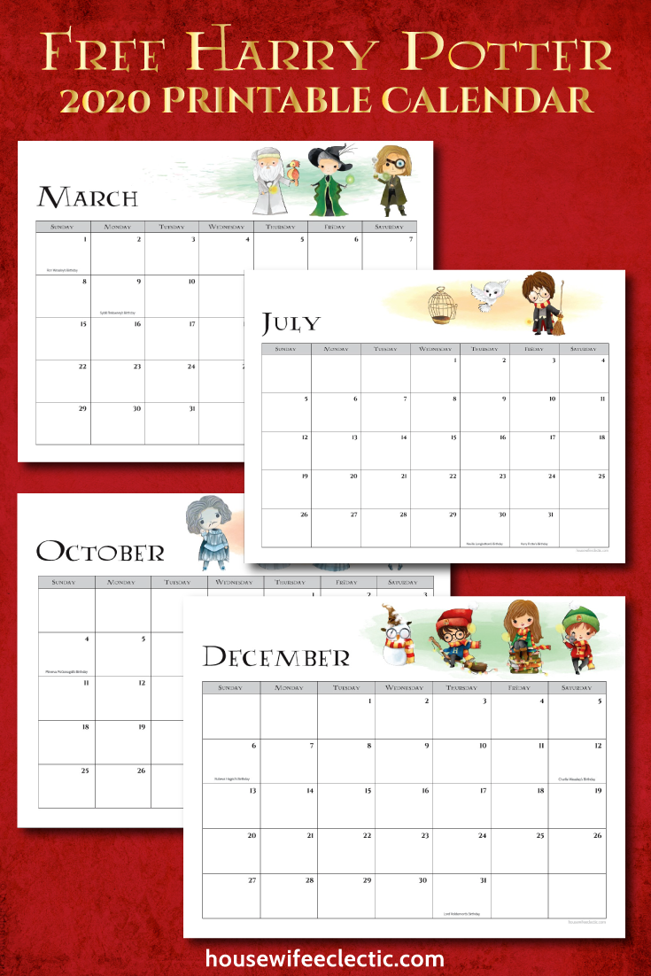 Calendrier Harry Potter 2021 Free Harry Potter 2020 Printable Calendar   Housewife Eclectic in