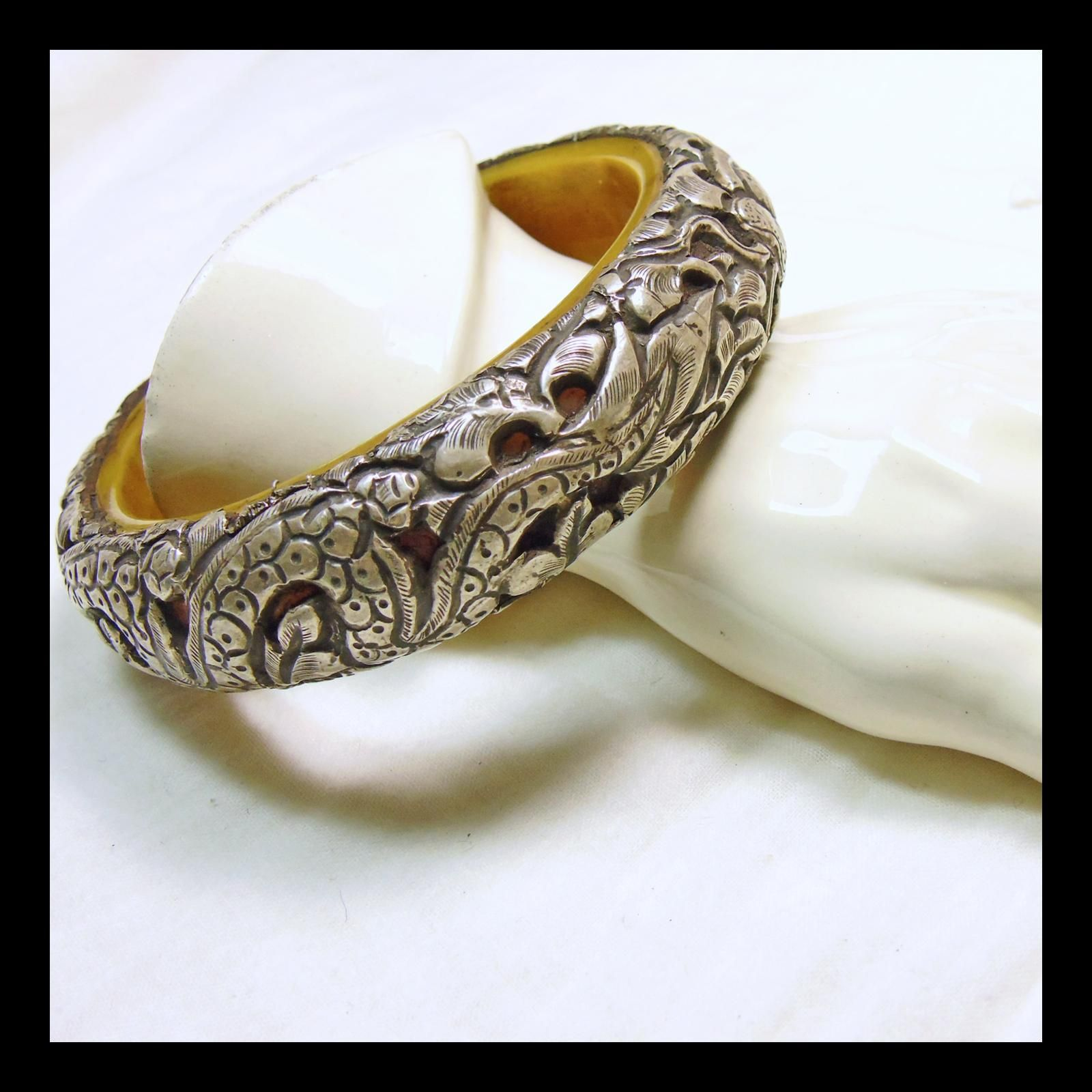Tibetan Bone Bangle with 3 Dimensional Sterling Silver Overlay with Snake and Leaf Design - Tibetan Bone Bangle with 3 Dimensional Sterling Silver Overlay with Snake and Leaf Design