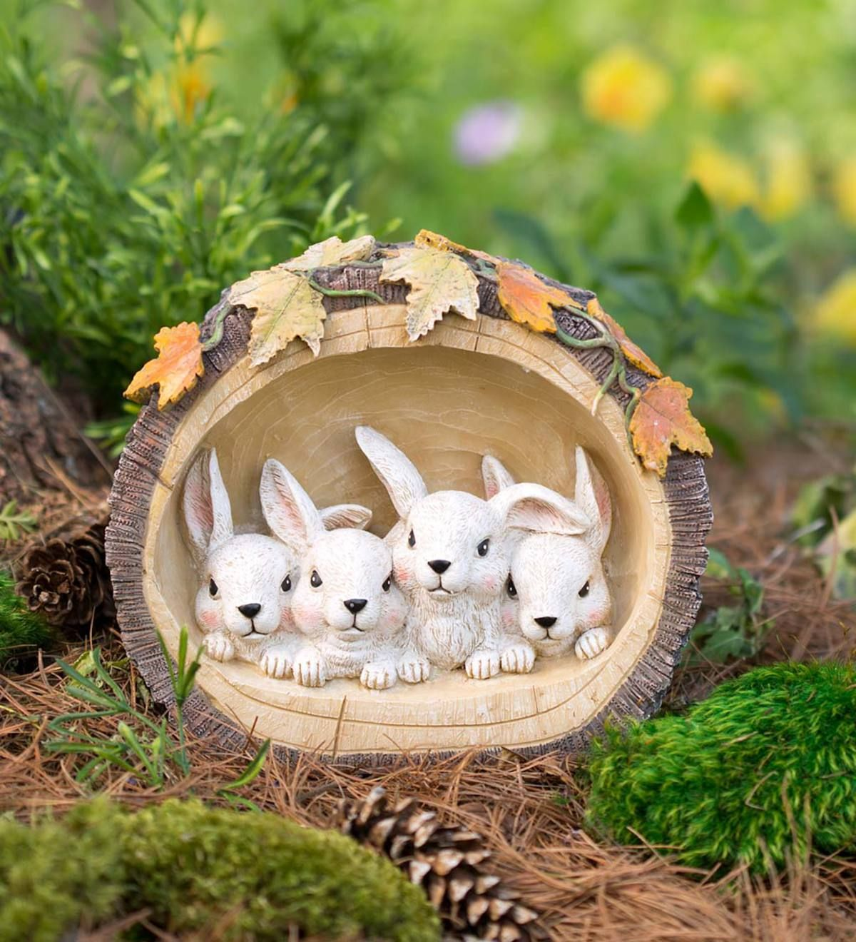 Our Bunnies In A Log Adds A Sweet Woodland Touch Interior Led Lights Emit A Warm Glow Highlighting The Little Bunny Faces Garden Statues Bunny Garden Decor