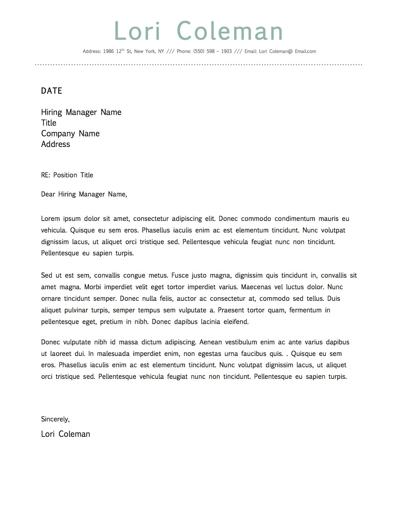 Simple Beautiful Cover Letter Template For Microsoft Word