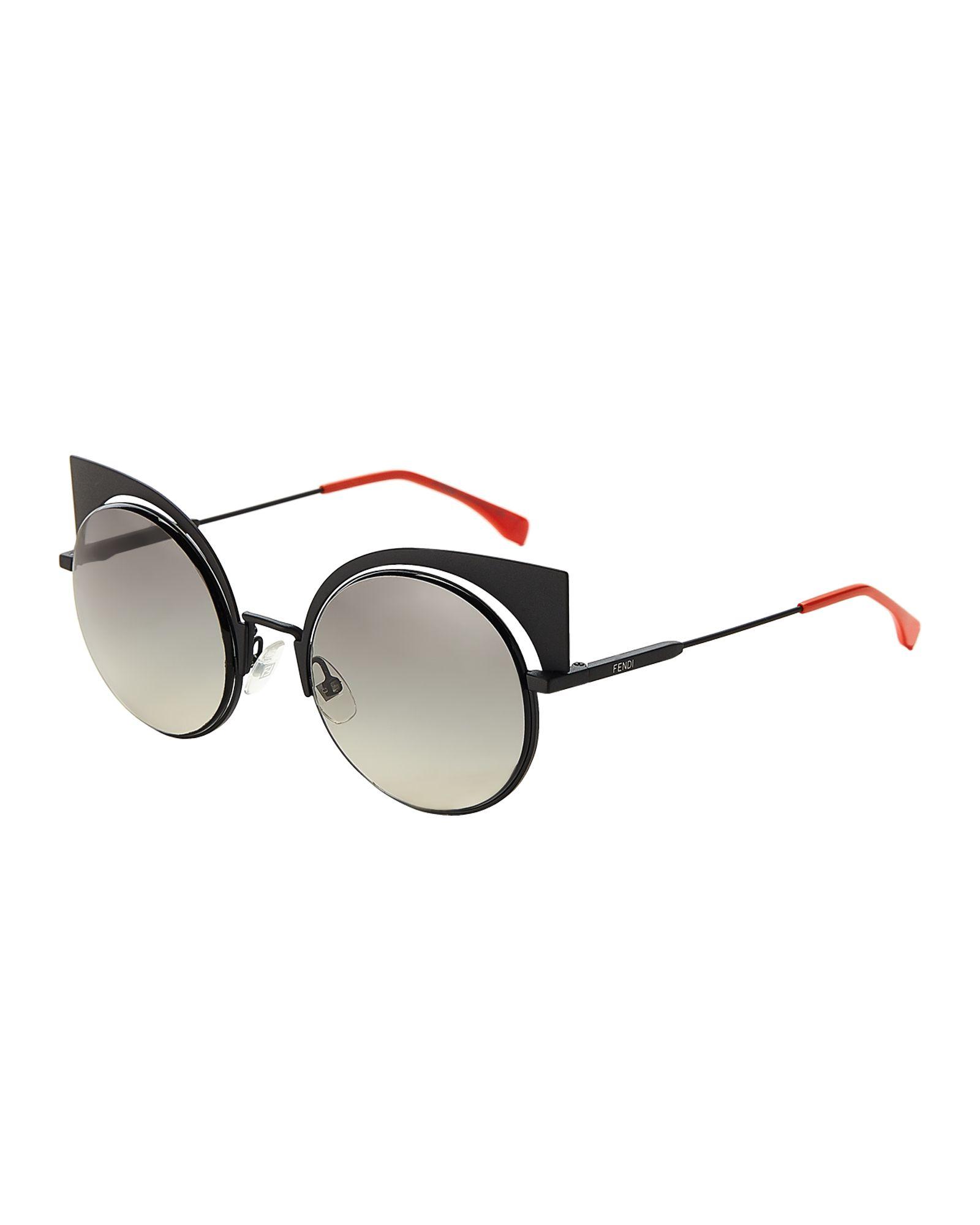 8ad2fa6b4ebc0 Fendi FF 0177 S Black Cat Eye Sunglasses
