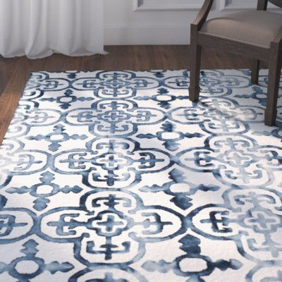 Bungalow Rose Naples Park Hand Tufted Ivory Navy Area Rug Products