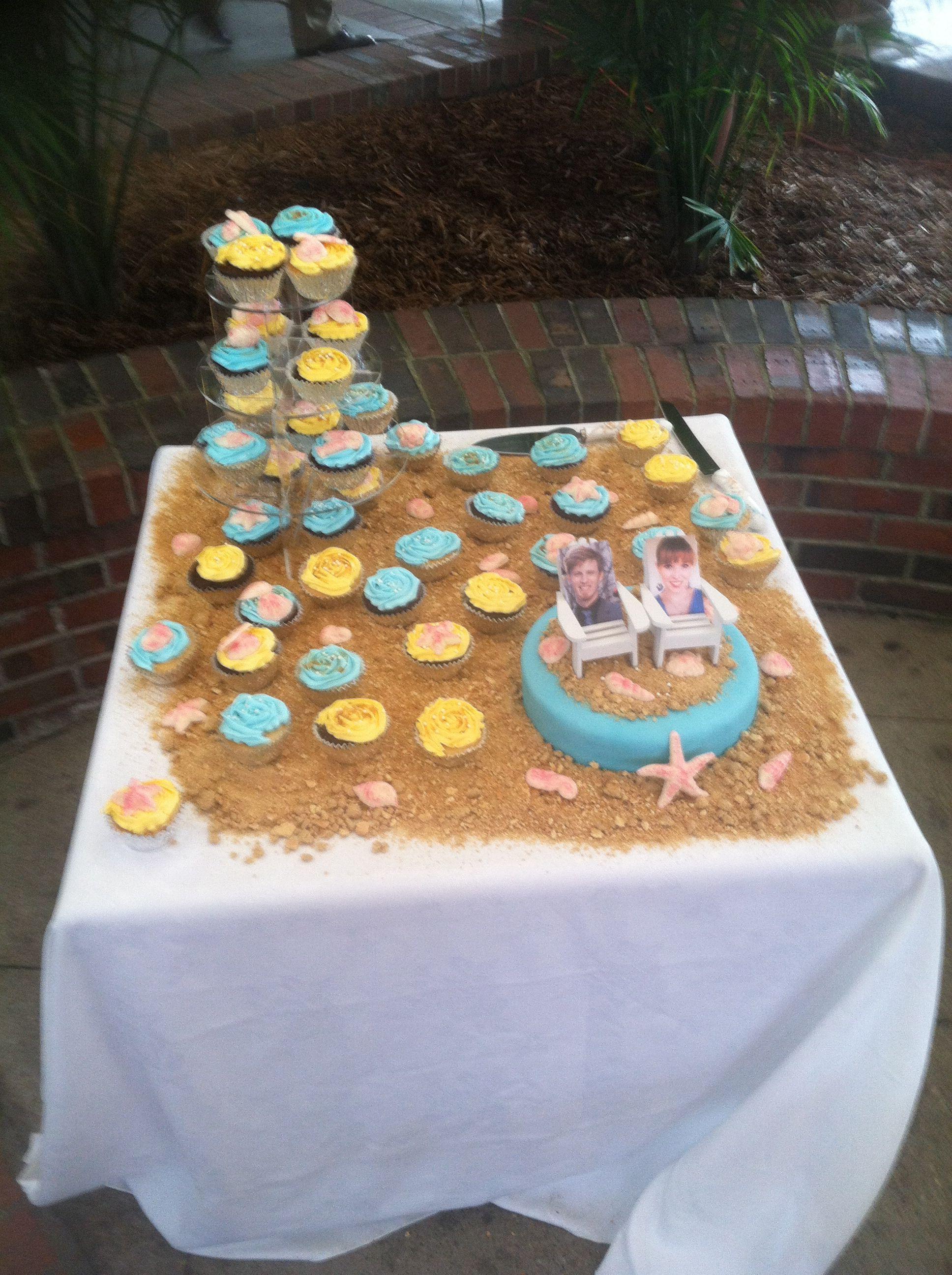 Beach themed wedding cake & cupcakes