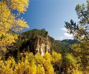 South Dakota: Spearfish Canyon. The 20-mile drive through the canyon on US-14A winds along Spearfish Creek past cliffs up to 1,000 feet tall.