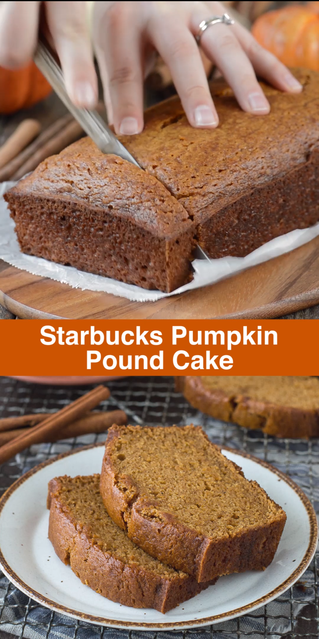 This recipe tastes just like Starbucks Pumpkin Pound Cake - takes 15 minutes to prep, you will want to share this with friends and family! Can be made in muffin, mini muffin or mini loaf pans. #pumpkinbread #starbuckspumpkinbread #pumpkinloaf #pumpkinpoundcake