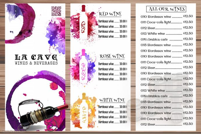 Wine list menu template - Vintage style http://www.postermywall ...