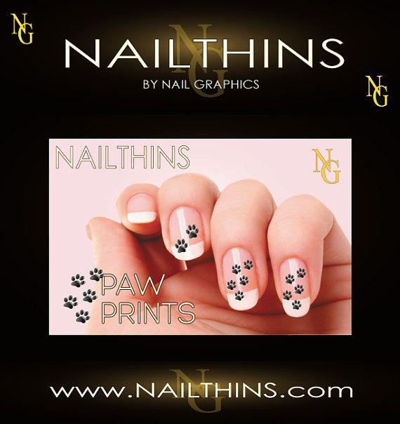 Dog Paw Print Nail Decal, Canine nail art, Animal Tracks Nail wrap ...
