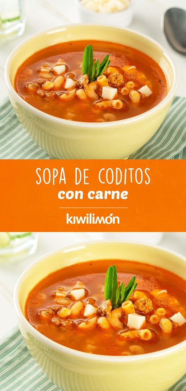 Sopa de Coditos con Carne