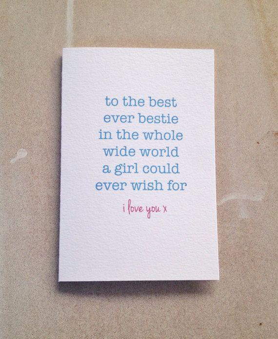 Best friend card bestie card birthday card greeting by giftdesigns – Best Friend Valentine Card