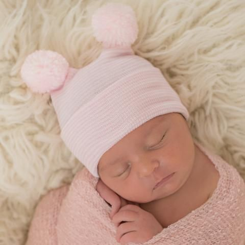 9eef7bc01 Striped Pink Double Mini Pink Pom Poms Newborn Girl Hospital ...