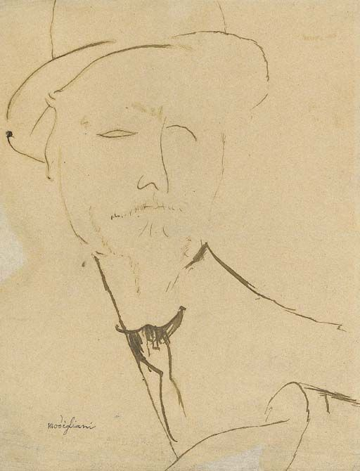 Amedeo Modigliani (Italian, 1884-1920), Portrait d'homme, c. 1917. Pen and black ink on paper,.