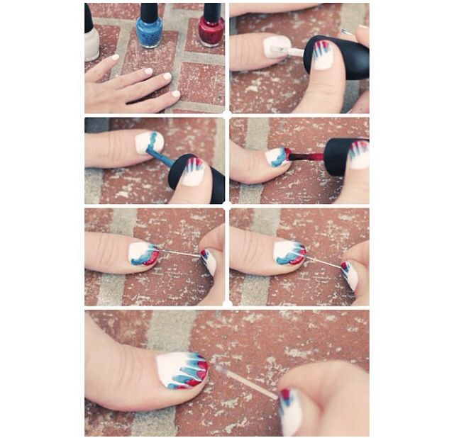 Tie-dye 4th of July nails!