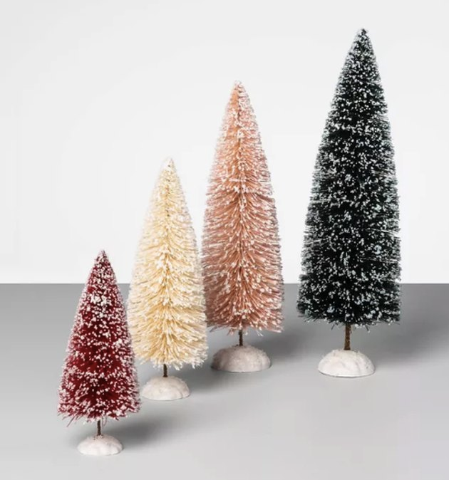 Target S New Opalhouse Holiday Items Are A Cozy Jewel Toned Winter Wonderland Hunker Christmas Tree Set Bottle Brush Christmas Trees Bottle Brush Trees