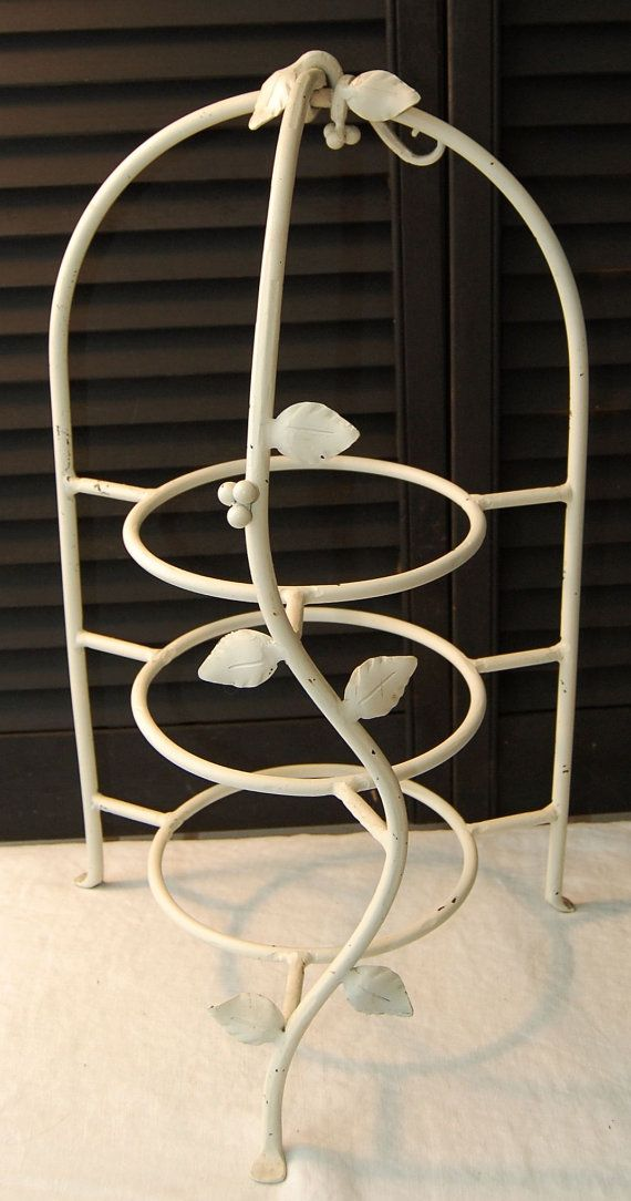 Vintage Wrought Iron Plate Stand Shabby White by scottyscottage ...