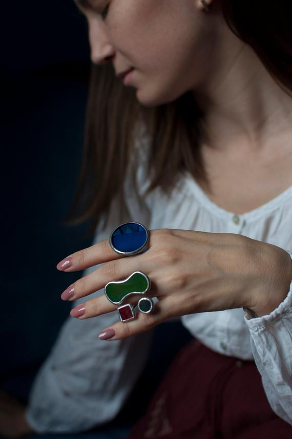 Stain glass ring blue large statement open band geometric big teardrop triangle disc Chunky tribal spiral cocktail wabi sabi daily sapphire