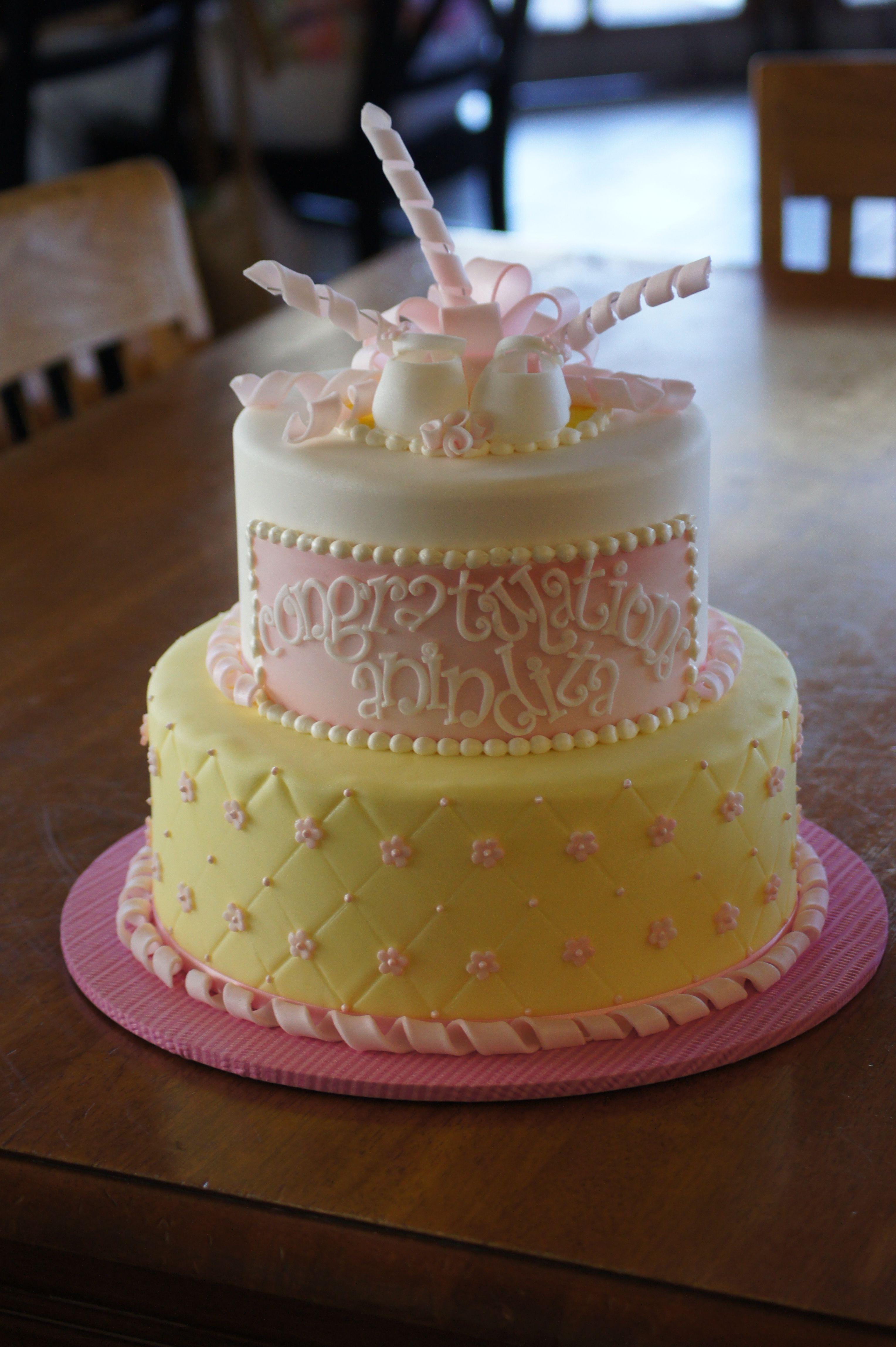 Pink And Yellow Fondant Baby Shower Cake