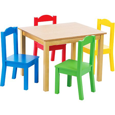 Humble Crew Kids Wood Table And 4 Chairs Set Multiple Colors Walmart Com Kids Table Chair Set Kid Table Kids Table And Chairs