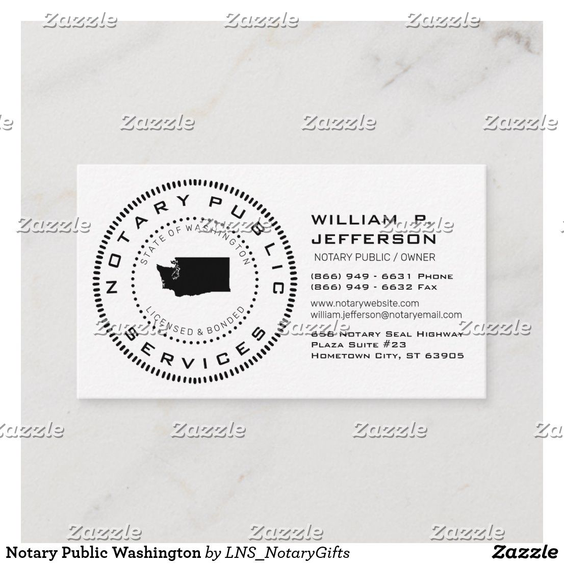Notary public washington business card in