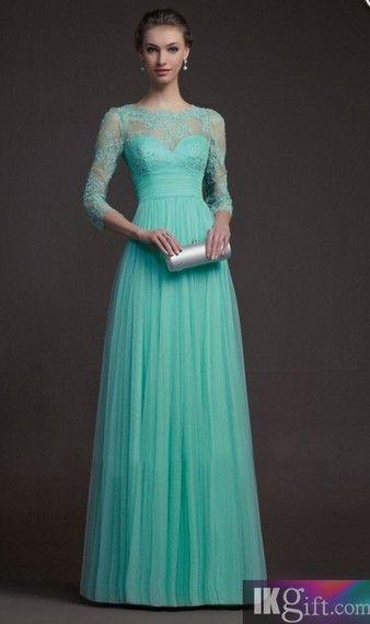2014 elegant A-line blue lace floor-length prom dress for teens, ball gown, graduation dress, evening dress, winter formal #promdress #wedding