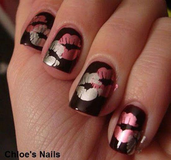 Metallic on Black S.W.A.K. | NAILS NAILS NAILS!! | Pinterest ...