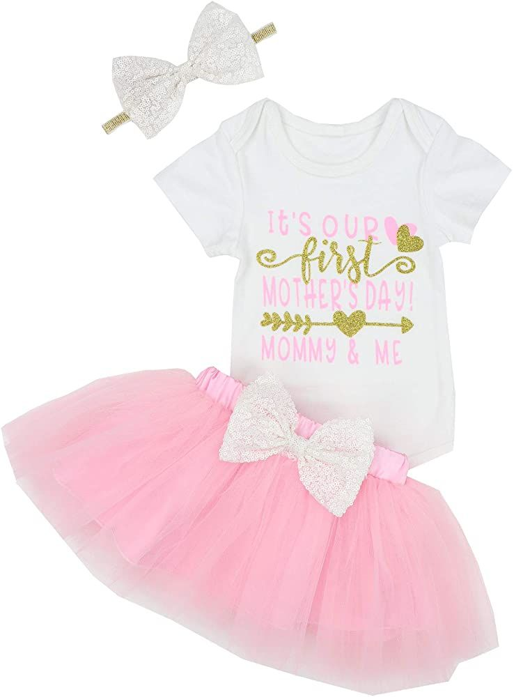 Newborn Baby Girls Tutu Bloomers Outfit Set Floral Romper Bodysuit Onesie Tulle Ruffle Shorts Summer Clothes Set 0-24M