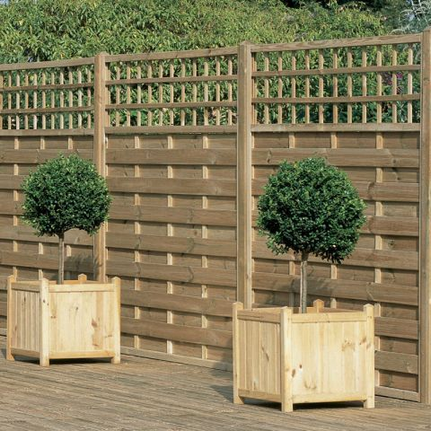 Horizontal weave trellis pressure treated wood fence panels are a decorative alternative to the - Decorative wooden fences ...