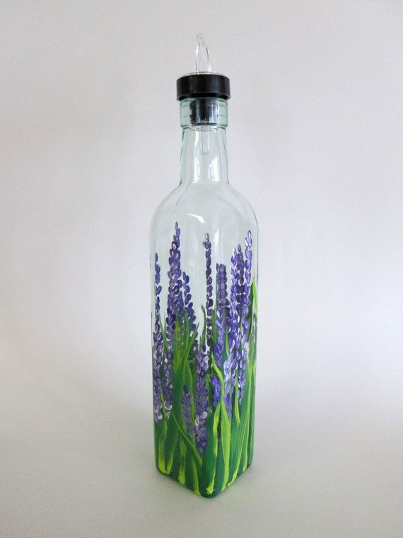 Hand Painted Olive Oil Bottle Or Soap Dispenser Field Of Lavender On Etsy 20 00 Hand Painted Bottles Glass Bottles Art Glass Bottle Crafts