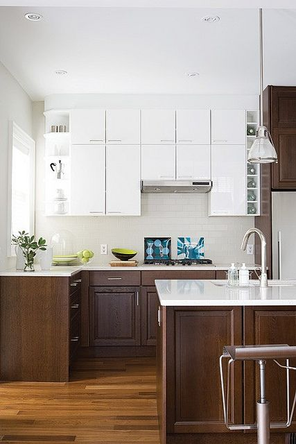 White cabinets on top, brown on bottom in 2019