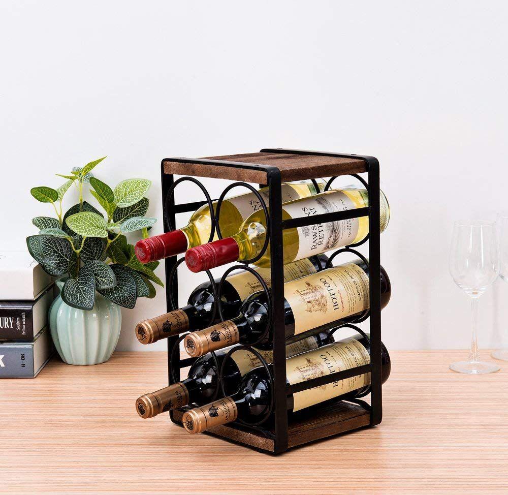 Soduku Rustic Wood Countertop Wine Rack For 6 Bottles No Need