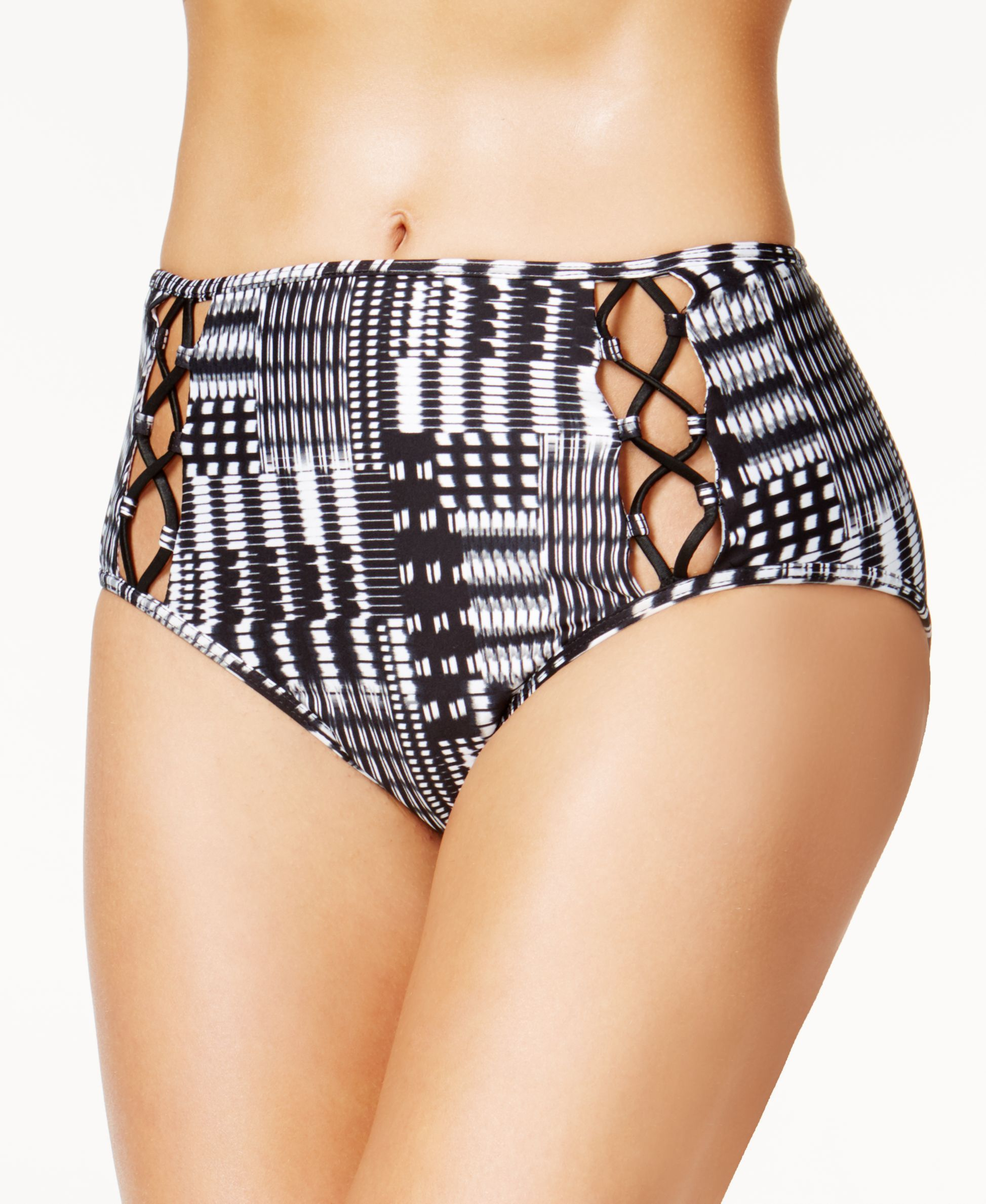 6d583c615b7 Kenneth Cole After Midnight Printed Strappy High-Waist Tummy Control Bikini  Bottoms