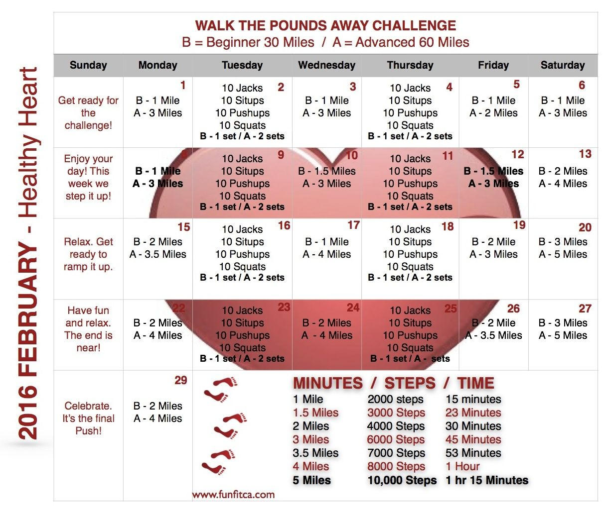 Walk The Pounds A Way With The Funfit Workout Calendar