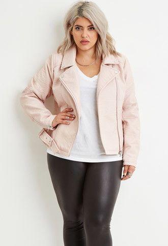 833c04d92b4 Plus Size Faux Leather Moto Jacket