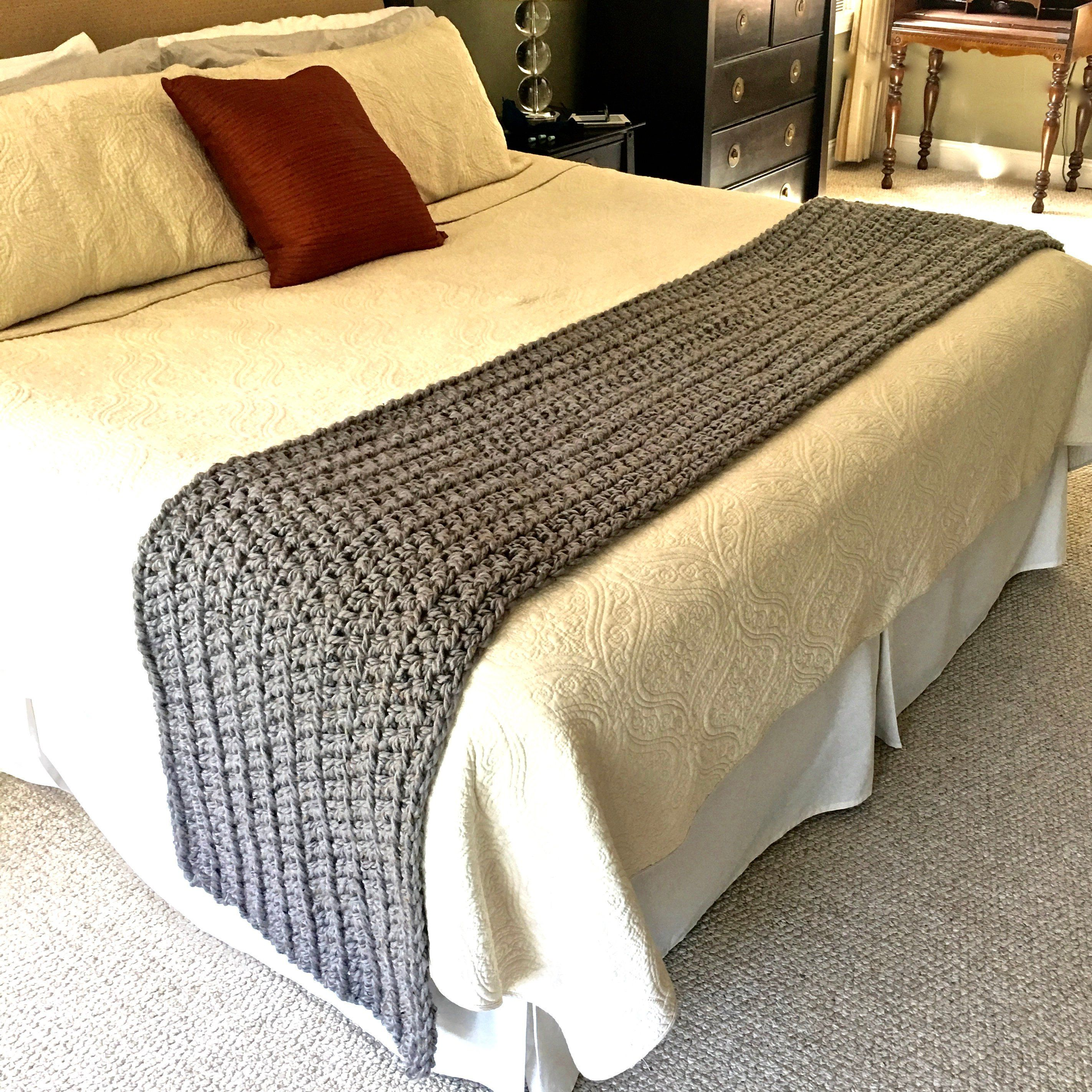 King Size Bed Runner Chunky Knit Blanket Grey Crochet Runner By Pokayoka On Etsy Crochet Blanket Grey Bed Runner Knitted Blankets