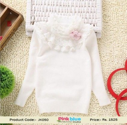 38121deeb1db Gorgeous White Kid s Sweater for Winter for Young Girls