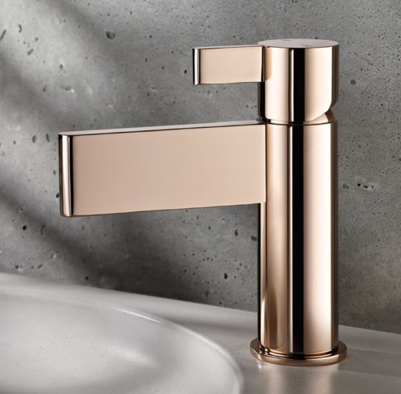 3 Mesmerising Metallics For Your Home Rose Gold Taps By Abl Tile Gold Bathroom Fixtures Stylish Bathroom Bathroom Fixtures