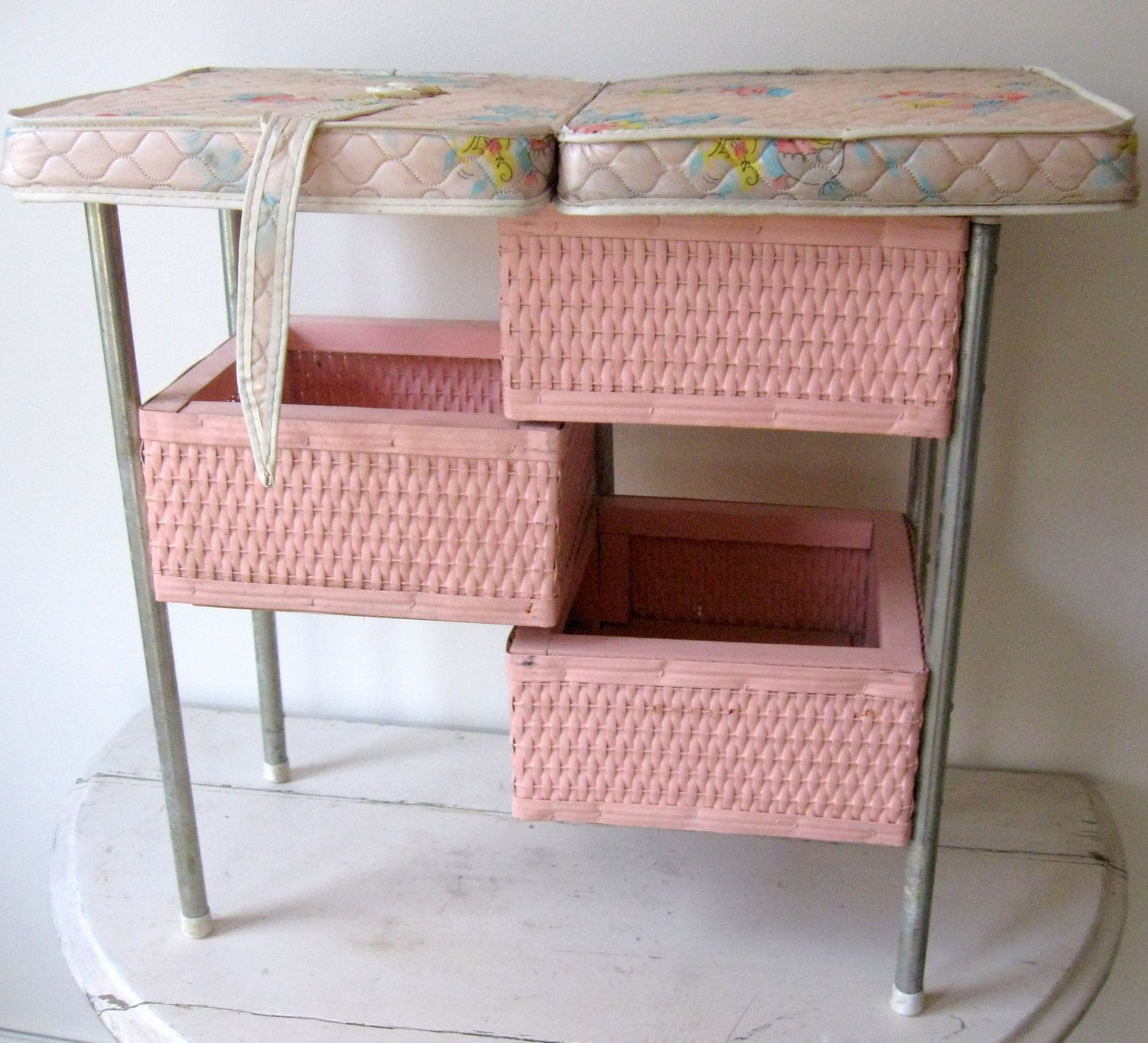 Vintage Pink Wicker Doll Changing Table