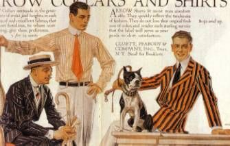 Men's Fashions American styles of the 1910s: The crisp shirts, high collars, and bold stripes seen below were typical of the clean-cut but casual American style. Also note the short, well-groomed hair.