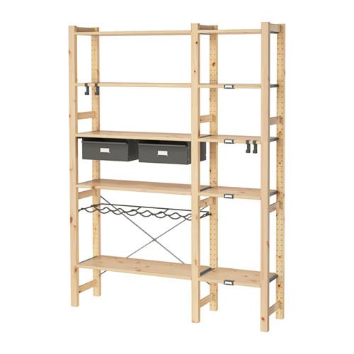 ivar 2 sections tablettes tiroirs pin gris pinterest arriere et cuisiner. Black Bedroom Furniture Sets. Home Design Ideas